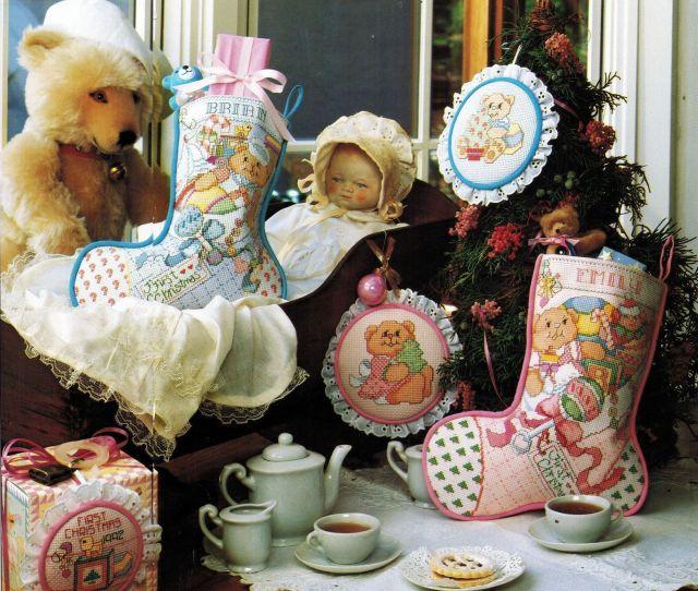 Cross Stitch Babys First Teddy Bear Christmas Stocking Bib Ornament Pattern