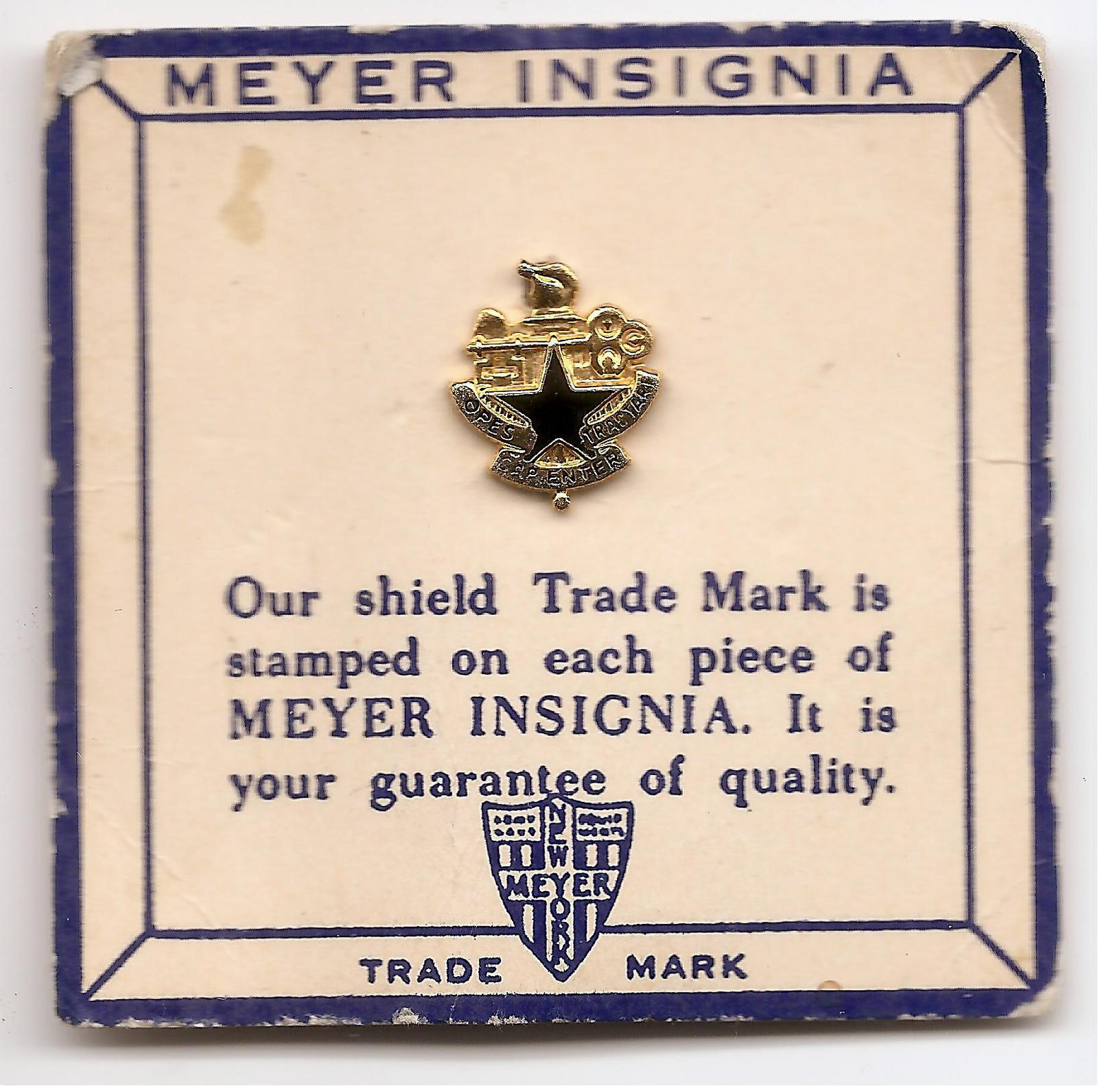 Us Army Wwii N S Meyer Carded Insignia Pin Logistics