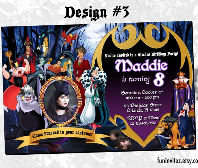 Il Fullxfull  Neum Il Fullxfull  Neum Villains Halloween Costume Birthday Party Photo Invitations Disney