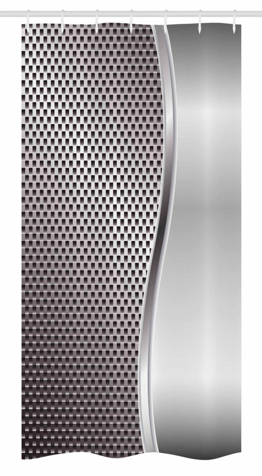 Metal Sheet Stall Shower Curtain Modern Silver Grid Squares Geometric Art 54x78 Shower Curtains