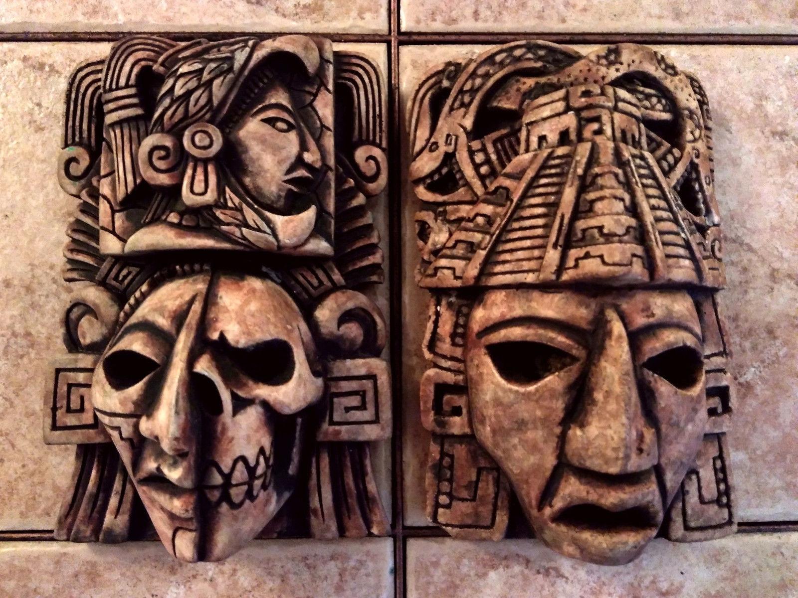 Mayan Maya Aztec Head Mexico Inca Mask Stone And 48