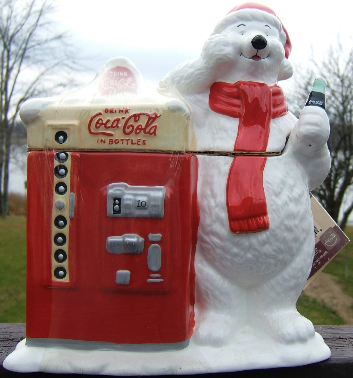 Coca Cola Polar Bear Ceramic Cookie Jar Original Shrink Wrap With Coke Label