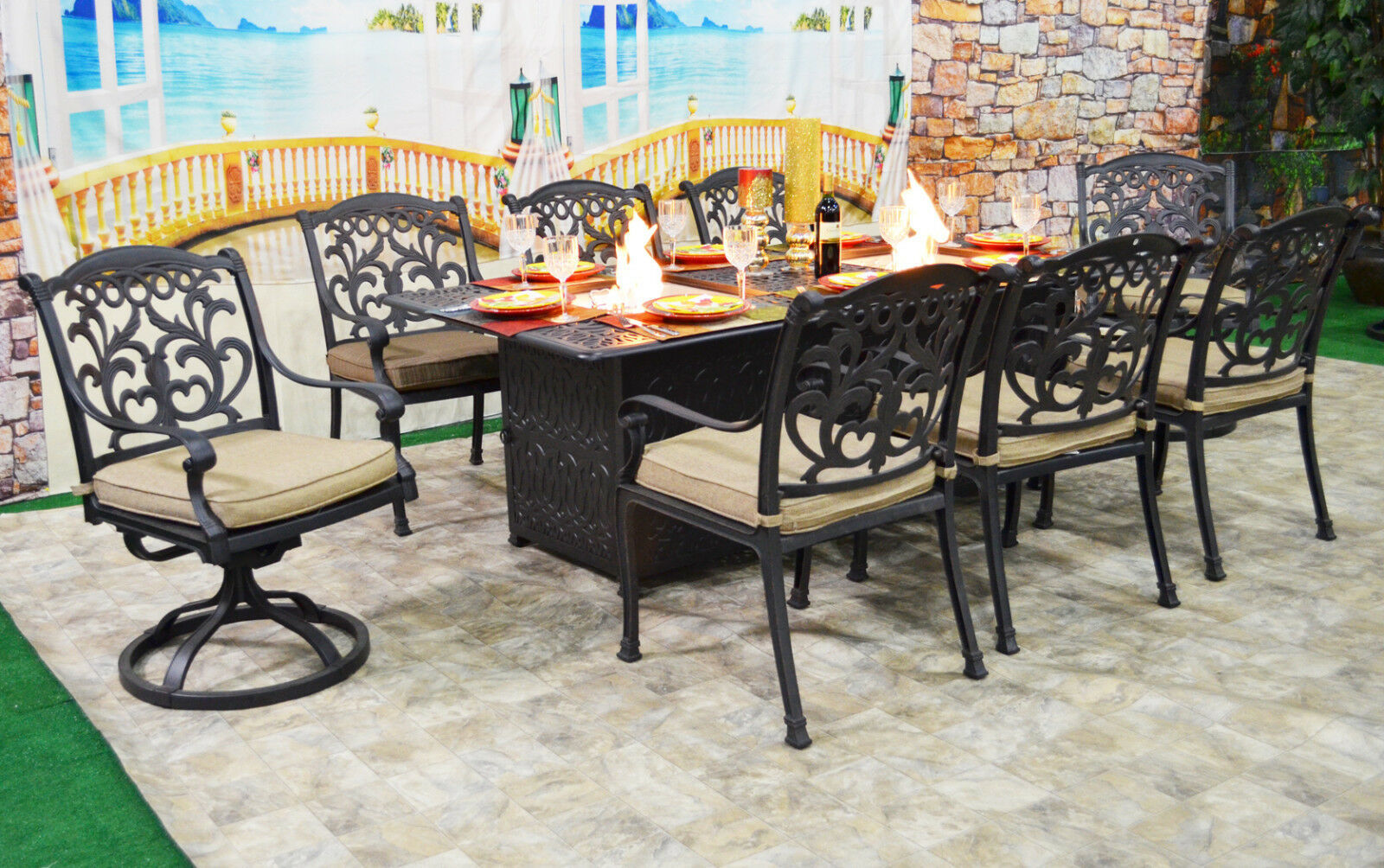 Patio dining table with built in fire pit 9 piece set ... on Outdoor Dining Tables With Fire Pit id=12654