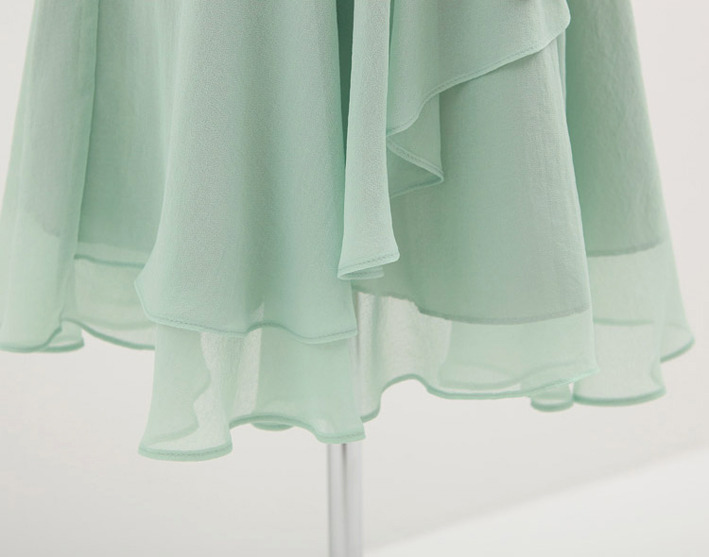 Sweet Butterfly Sleeves Cowl Neck Mint Green Chiffon Dress