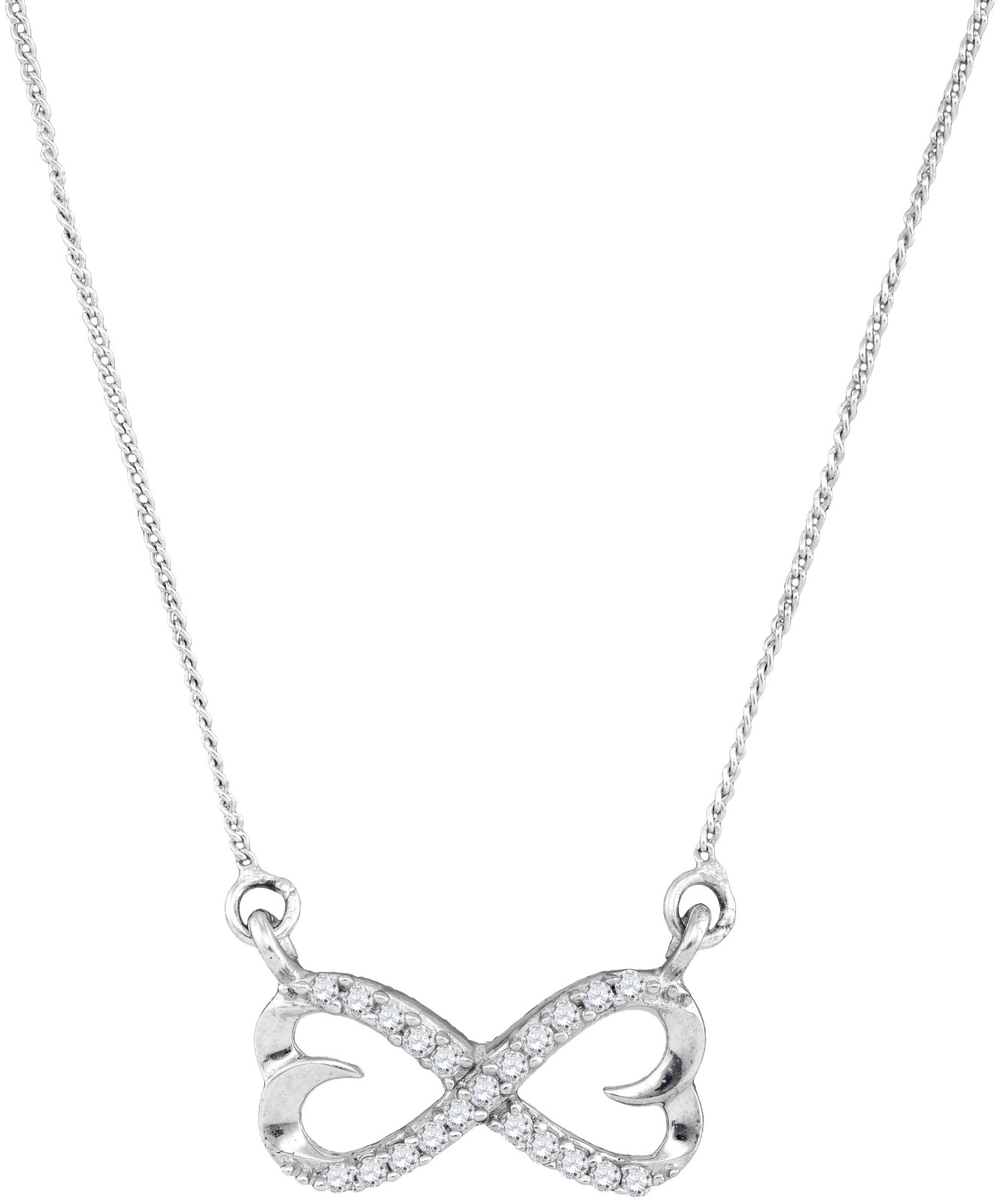 Sterling Silver Womens Round Diamond Infinity Double Heart