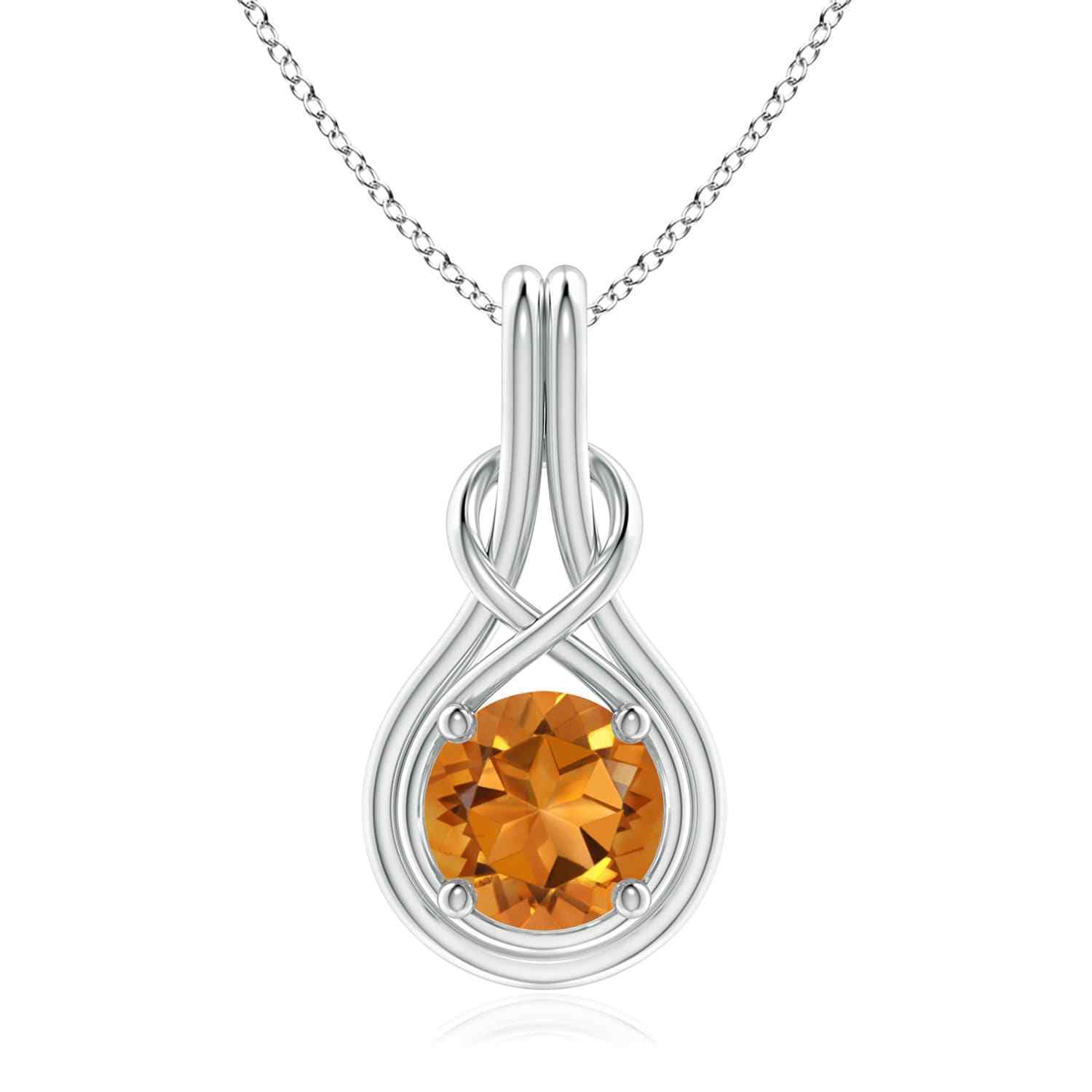 1 7ct 8mm Natural Citrine Infinity Knot Pendant Necklace