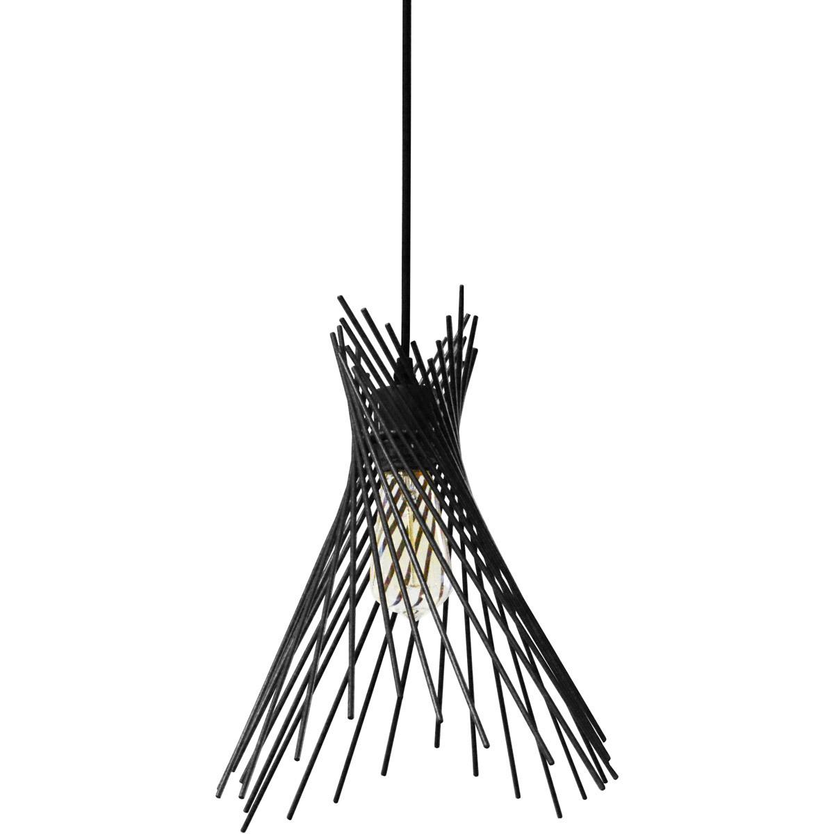 Pendants 1 Light Bulb Fixture With Black Tone Finish Metal