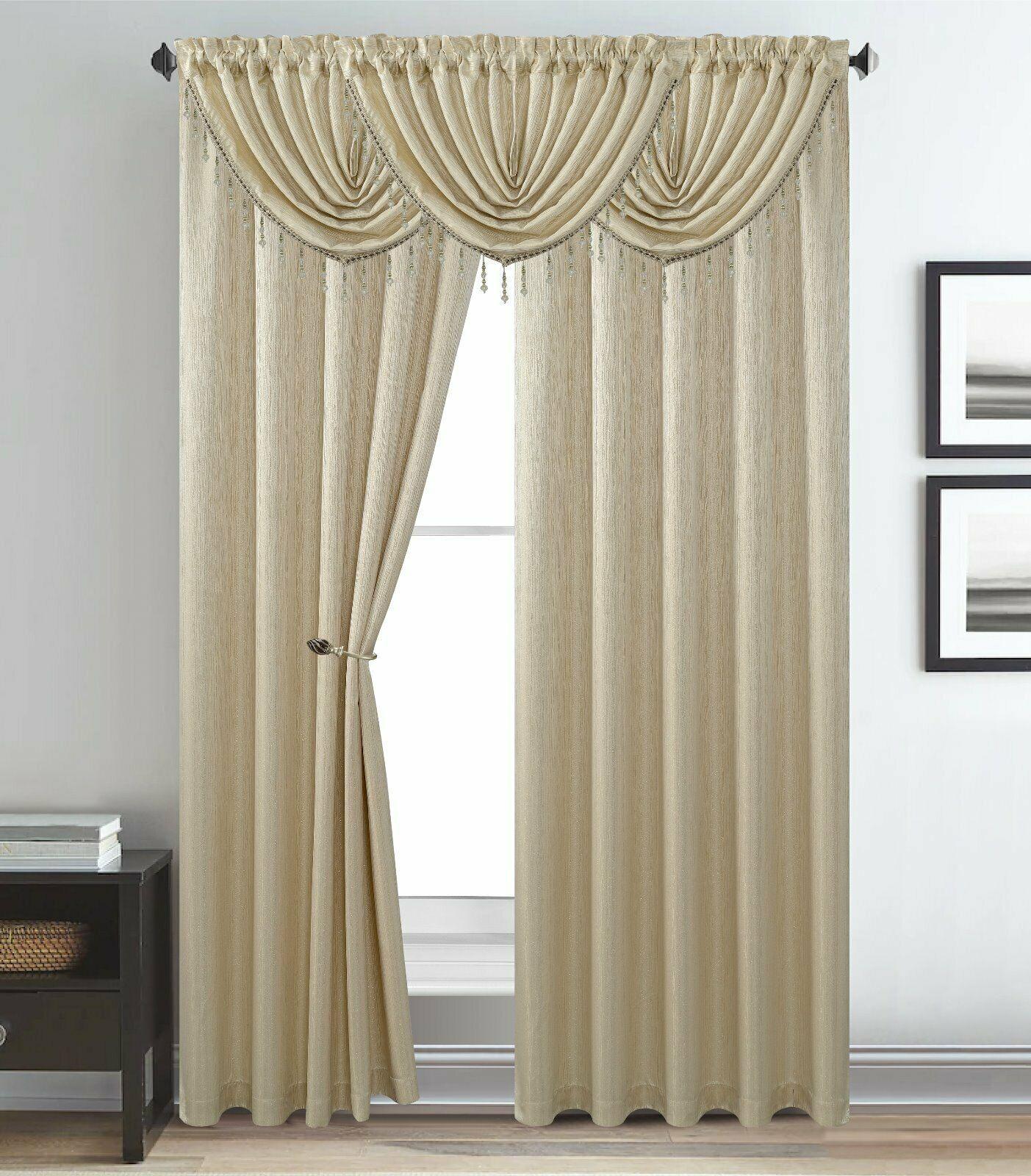 Melanie Jacquard Rod Pocket Window Treatment Curtain Panel
