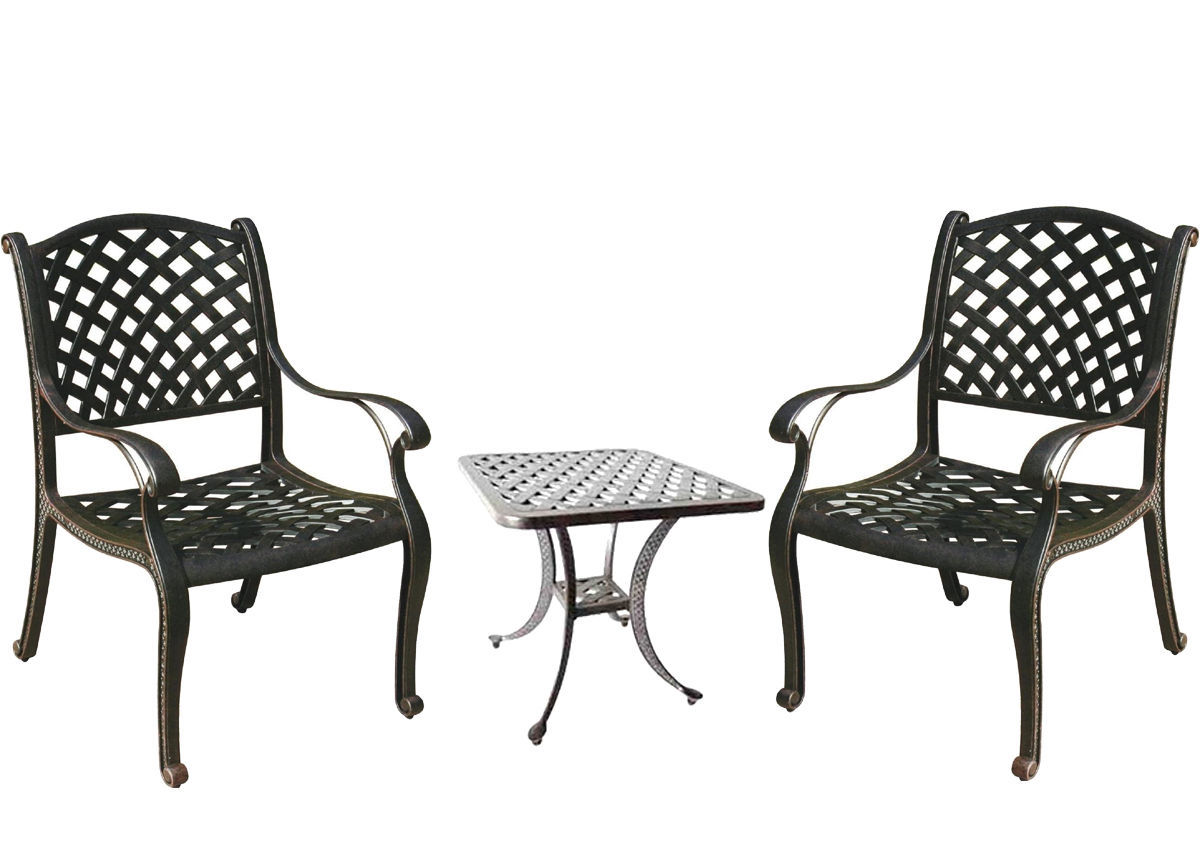 3 Piece Bistro Patio Set Table And Chairs Nassau Outdoor