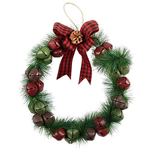 Nantucket Home Green Brown Bells Christmas Holiday Wreath