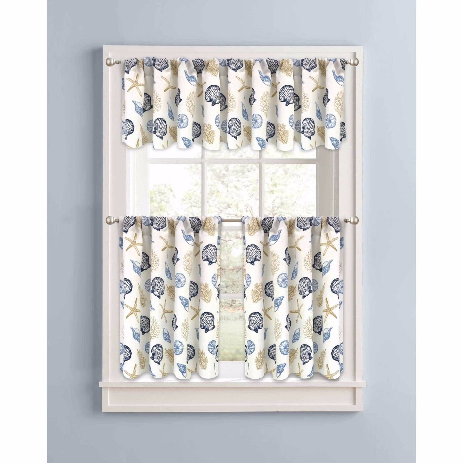 Tan Blue Nautical Coastal Beach Ocean Shells Kitchen
