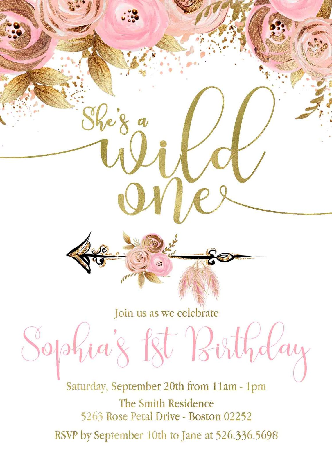 pink gold floral wild one birthday and