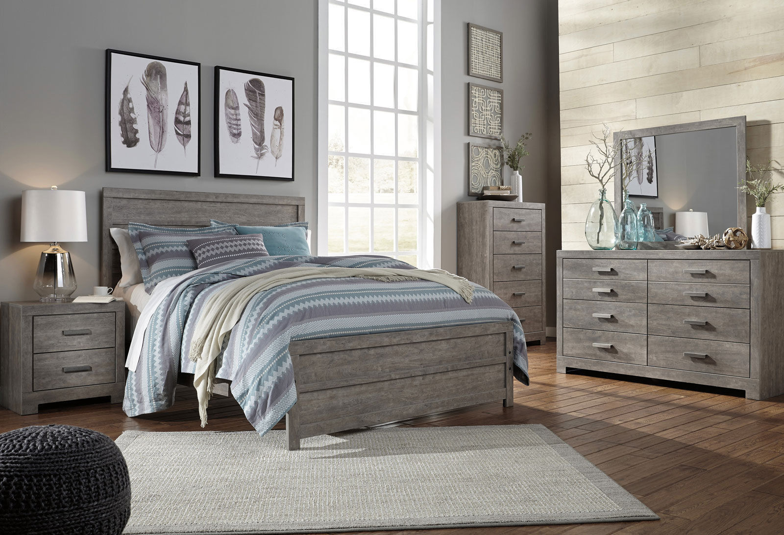 New 5 Piece Modern Rustic Gray Bedroom Set Furniture W