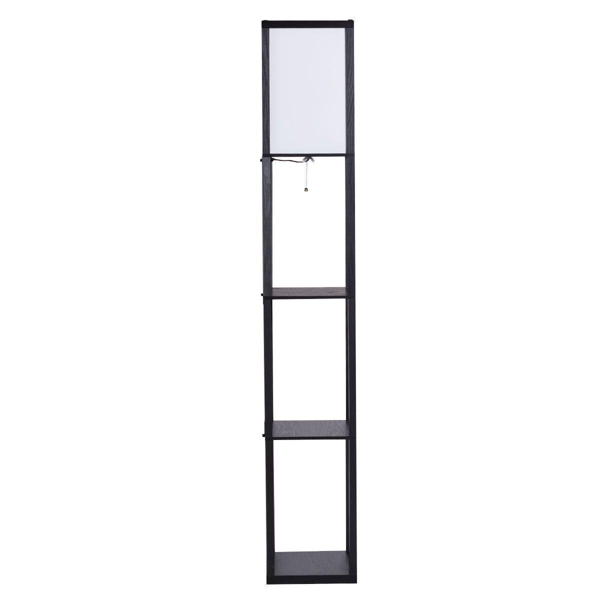 Modern Bedroom Shelf Floor Lamp W 3 Storage Shelves