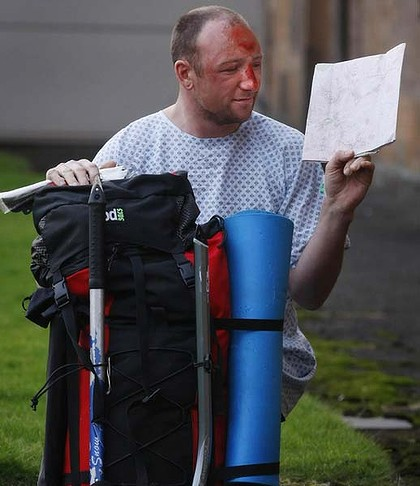 Miracle survival ...  Adam Potter fell 300 metres down a mountain