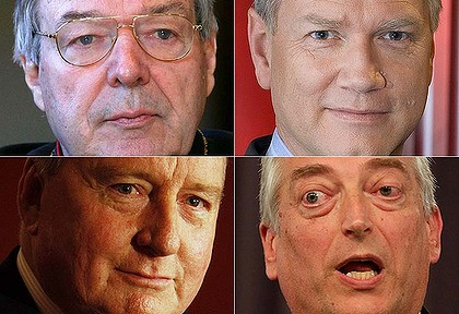 Conservative white men ... (from top left) Cardinal George Pell, Andrew Bolt, Alan Jones and Christopher Monckton.