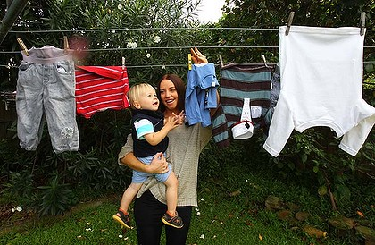 Helping hand ... Belinda Pleffer with her 18-month-old charge Anton. Belinda works for Anton?s mother, Lise Rawlings, four days a week.