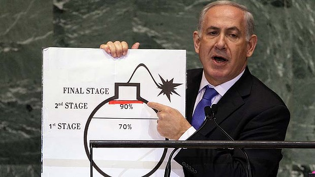 Israeli Prime Minister Benjamin Netanyahu shows an illustration as he describes his concerns over Iran's nuclear ambitions in 2007.