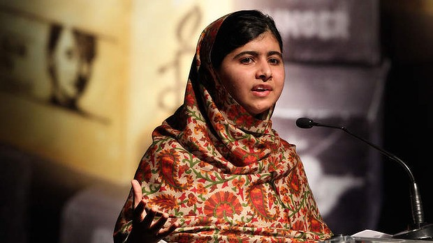 Emblem: Malala Yousafzai addressing the assembly before receiving the Amnesty International Ambassador of Conscience Award this year.