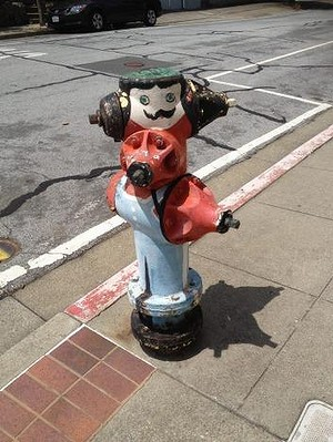 The fire hydrants in Brisbane, California, are painted in a community art project reminiscent of the traffic signal boxes in Brisbane, Queensland.