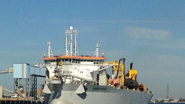 The purpose-built sand dredging boat, the Charles Darwin, has arrived in Brisbane.