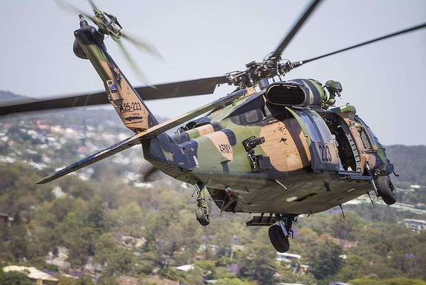 Blackhawk over Brisbane in the lead-up to the G20 meeting of leaders on October 20.