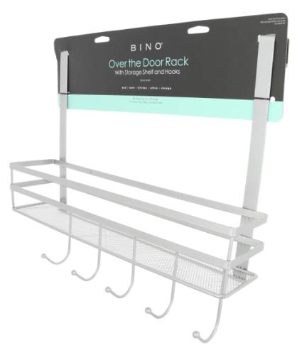 over the door rack w shelf hooks sliver