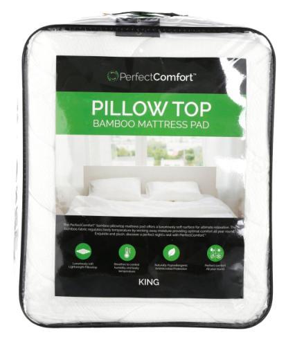 king size pillow top bamboo mattress pad white