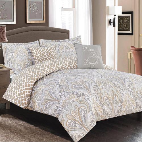 queen 5 pc bedding set neutral