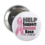 """Help Support 2nd Base 2.25"""" Button (10 pack)"""