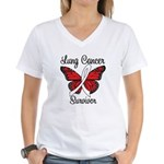 Lung Cancer Survivor Women's V-Neck T-Shirt