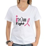 I Will Fight Breast Cancer Women's V-Neck T-Shirt
