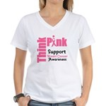 Think Pink Women's V-Neck T-Shirt