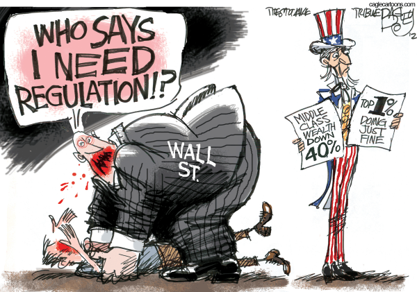 "Cartoon of a man eating another man. The cannibal is labeled ""Wall St.,"" and he's saying, ""Who says I need regulation?"""