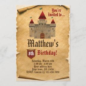 medieval party birthday invitations