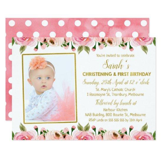 pink gold christening 1st birthday