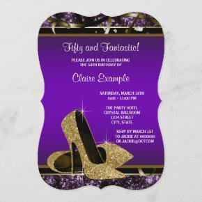 purple 18th birthday invitations