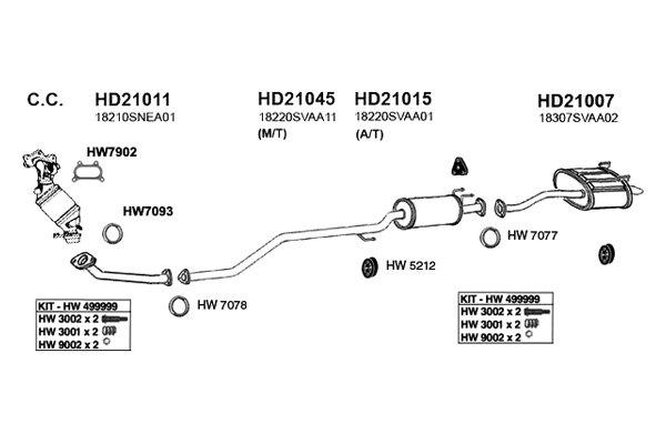 diagram of honda civic exhaust system