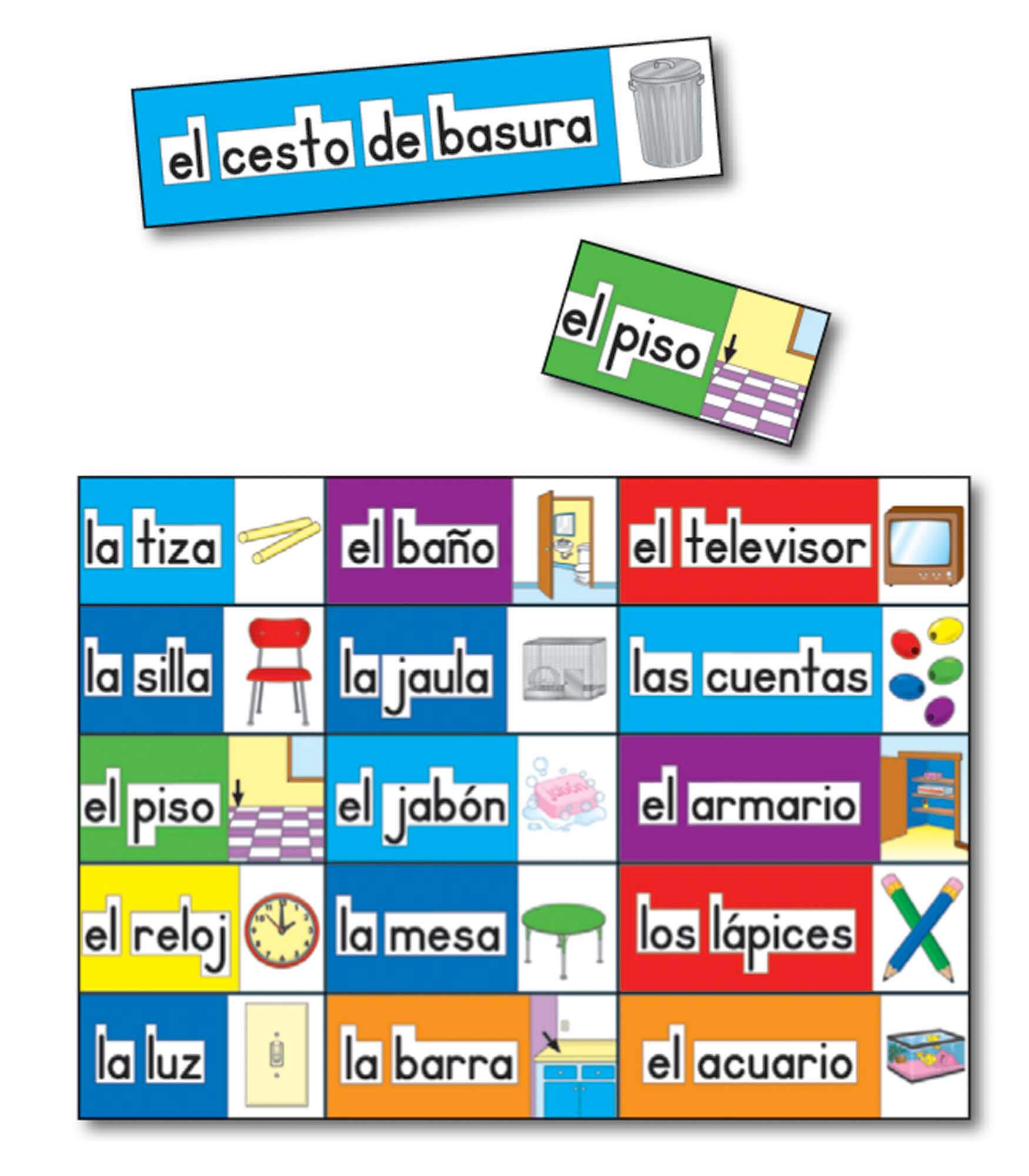 Print Rich Classroom Labels Spanish Bulletin Board Set