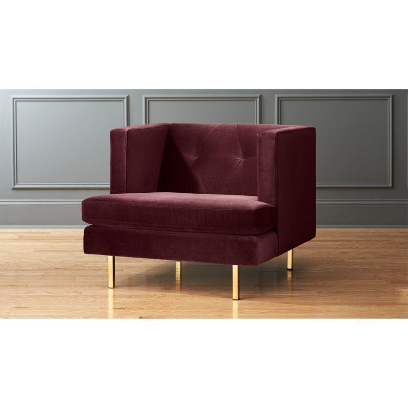 Avec Bergamot Purple Velvet Armchair In Custom Order