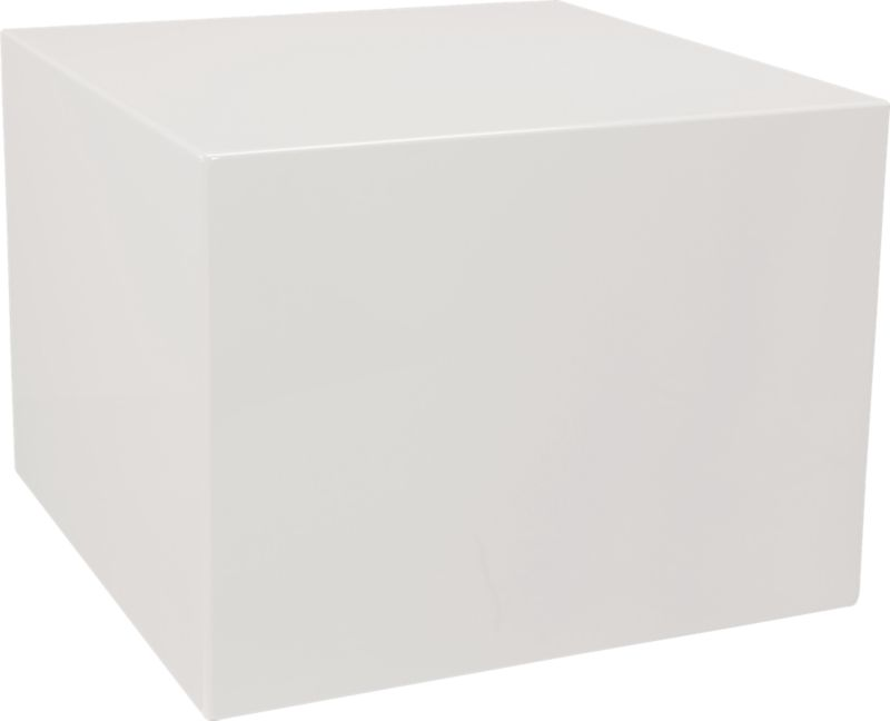 City Slicker White Lacquer Side Table In Side Tables