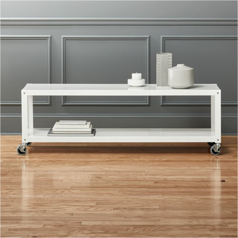 Go Cart White Rolling Tv Standcoffee Table CB2
