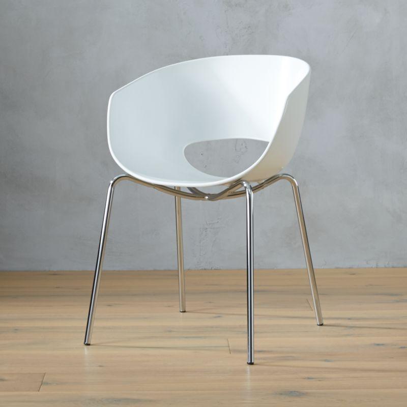 Orbit White Arm Chair CB2