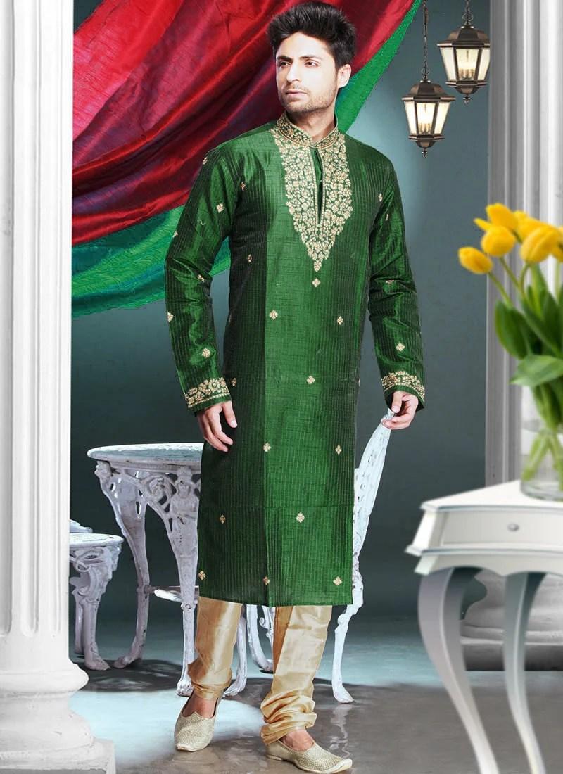 Cbazaar Green Art Silk Kurta Pyjama