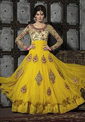Alluring Yellow Net Layered Floor Length Anarkali