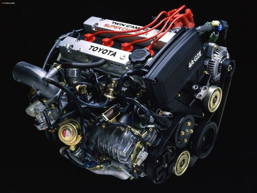 An AW-11 4A-GZE small-roots supercharged, W10 MR2 Engine.