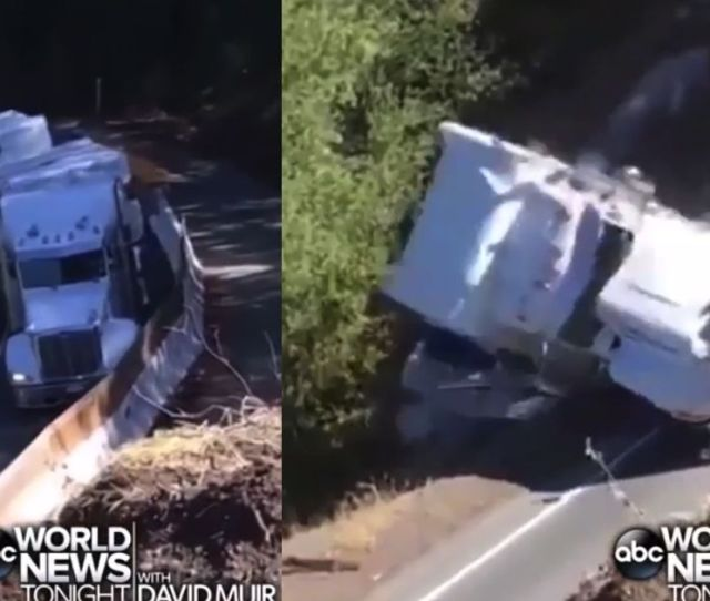 Trucker Ignores Safety Signs Crashes Down Mountainside