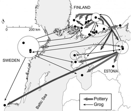 Nuolin merkittyjä reittejä Etelä-Suomessa ja -Ruotsissa ja Virossa.