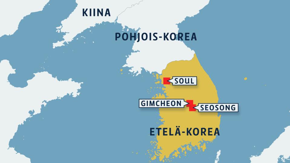 Kartta Etelä-Koreasta