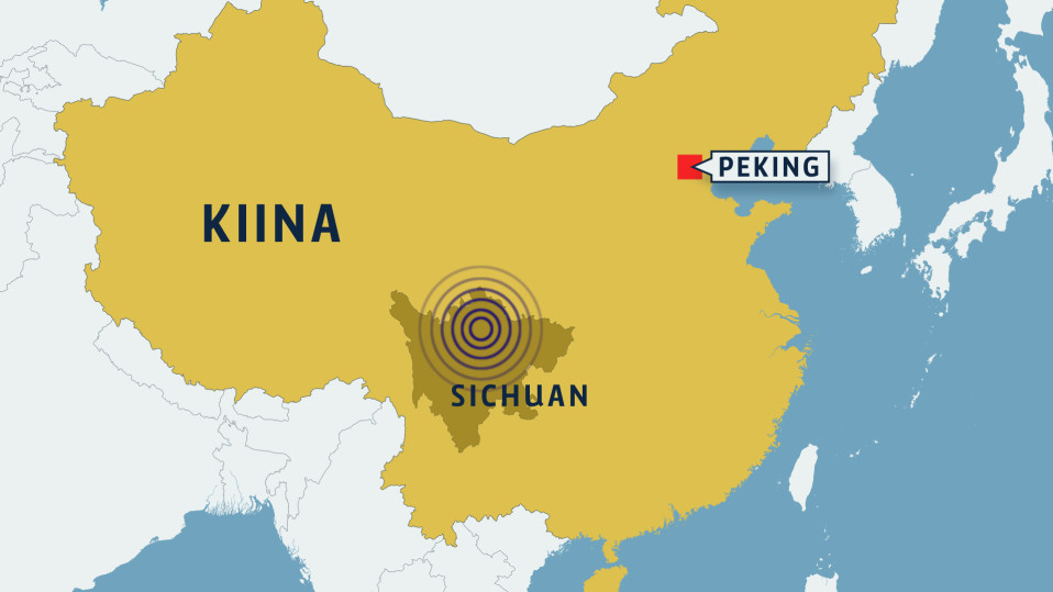 Kartta Kiinan maanjäristyksestä.